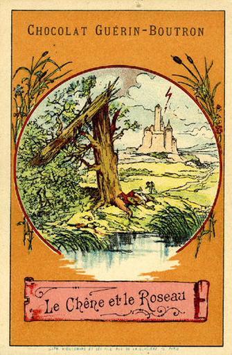 Le Chêne et le Roseau, I, 22 (Le texte de la fable est reproduit au revers)