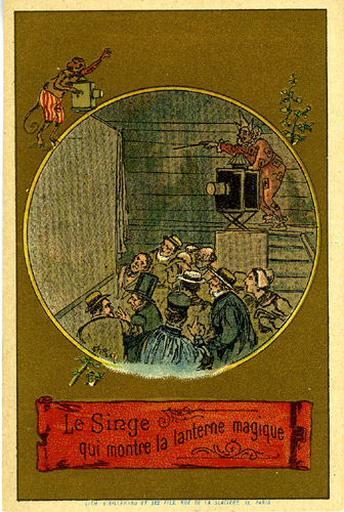 Le Singe qui montre la lanterne magique (Le texte de la fable est reproduit au revers)_0