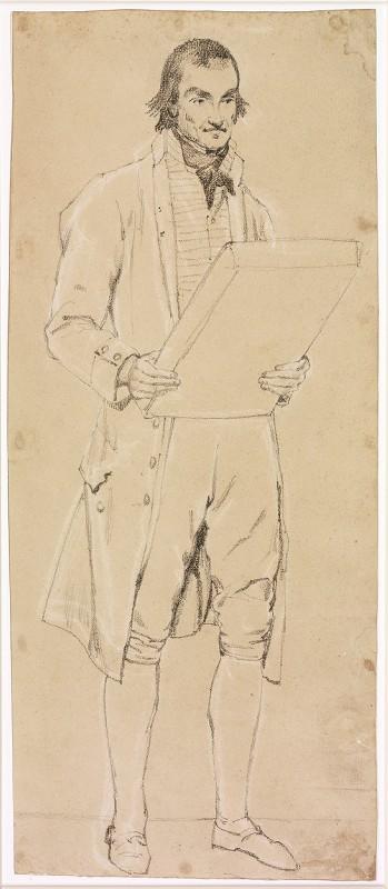 Homme en costume de ville, debout, portant un gros livre (bedeau)_0