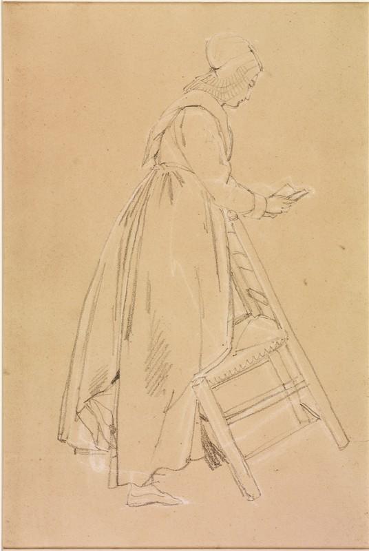 Femme en costume populaire haut normand, de profil droit, lisant un livre, le genou gauche appuyé sur une chaise en équilibre_0