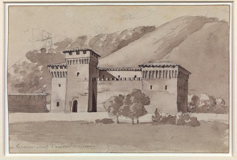 LEMASLE Louis Nicolas : Bâtisse fortifiée dans un paysage montagneux aux environs de Sienne, en Toscane
