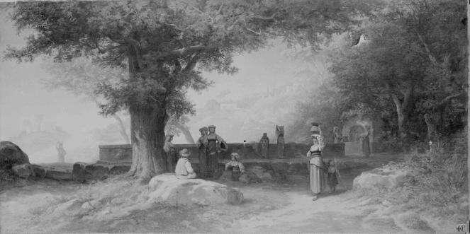 ANASTASI Auguste Paul Charles : Un lavoir aux environs de Naples