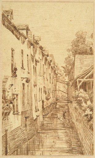 Amiens : le canal du Hocquet ; Amiens : canal du Hocquet en 1854, vu d'une maison de la rue des Gantiers_0