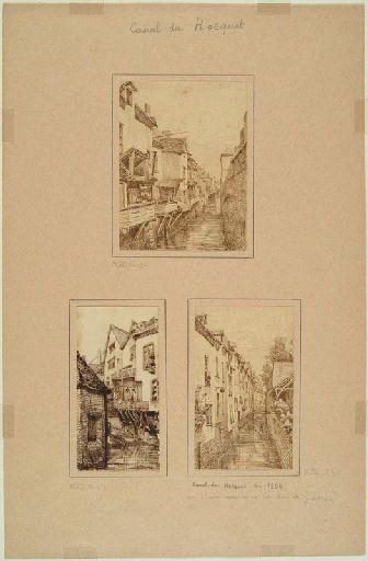 Amiens : le canal du Hocquet ; Amiens : canal du Hocquet en 1854, vu d'une maison de la rue des Gantiers