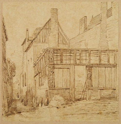 Amiens : une maison en ruine, à l'angle de la rue Basse des Tanneurs et la petite rue Saint-Germain ; Amiens : rue Basse des Tanneurs (angle de la petite rue Saint-Germain)_0