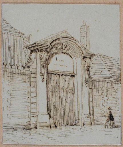 Amiens : le portail de l'hôtel de M. de Gilles, rue Neuve, (vers 1850) ; Amiens : rue Neuve. Hôtel de Mr de Gilles
