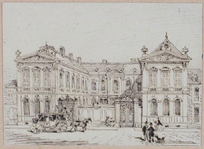 Amiens : façade de l'hôtel de M. de Franqueville, construit par Herbault, (vers 1850) ; Amiens : hôtel de M. de Franqueville_0