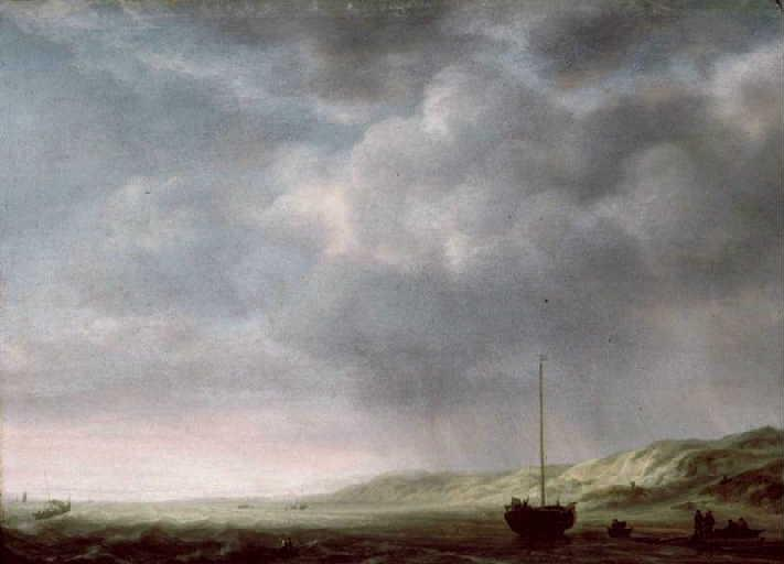 Dunes avec pêcheurs par temps de pluie (Scheveningen ?)