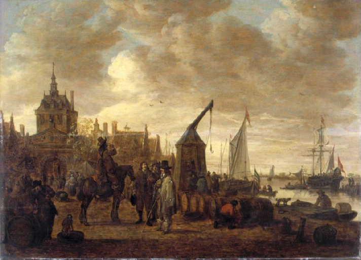 Marchands de vin et dégustateur à cheval sur un quai à Dordrecht_0
