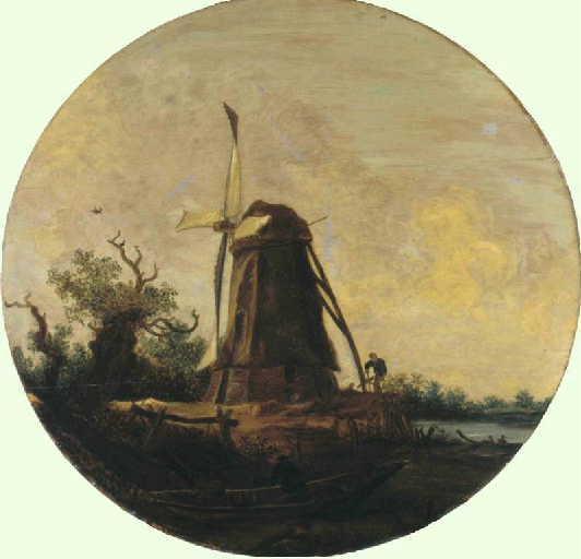 Paysage avec un moulin à vent