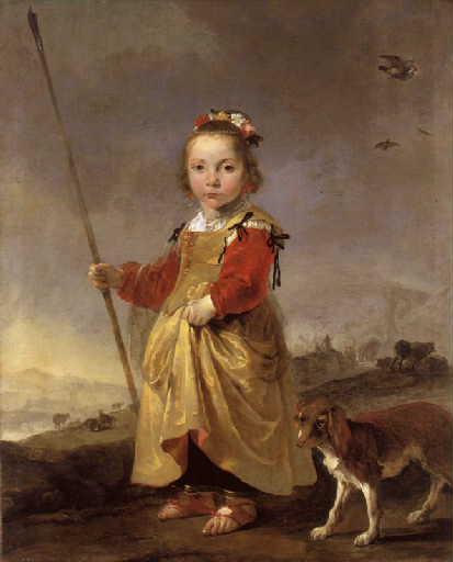 Portrait d'une petite fille en bergère
