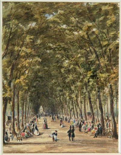 Amiens : la grande allée du parc de la Hotoie ; Amiens : la Hotoie : la grande allée en 1820_0