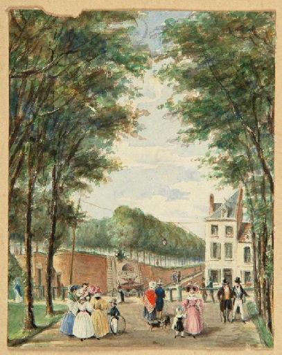 Amiens : la promenade du mail et la fontaine des Rabuissons ; Amiens : fontaine des Rabuissons, 1825. Vue de la promenade du Mail