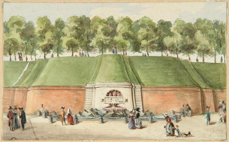 Amiens : la fontaine des Rabuissons sur la promenade du Mail au XVIIIe siècle ; Amiens : fontaine des Rabuissons_0