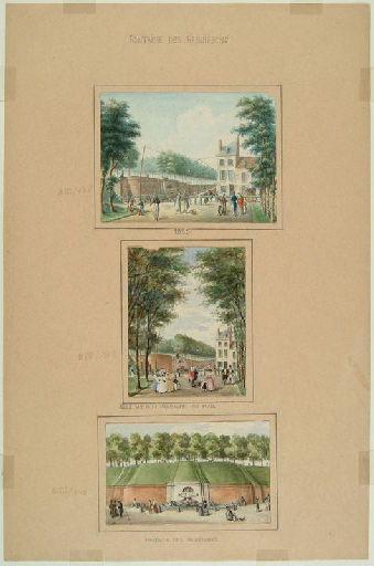 Amiens : la fontaine des Rabuissons sur la promenade du Mail au XVIIIe siècle ; Amiens : fontaine des Rabuissons
