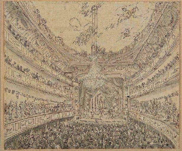 Amiens : l'intérieur du théâtre avant le lever de rideau, (vers 1850) ; Amiens : le Théâtre_0