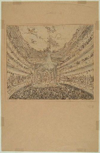 Amiens : l'intérieur du théâtre avant le lever de rideau, (vers 1850) ; Amiens : le Théâtre