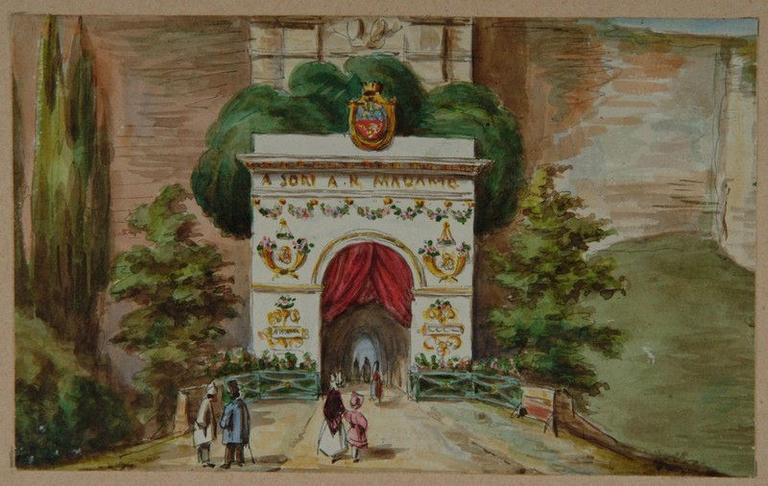 Amiens : la porte Saint-Pierre décorée à l'occasion de la venue de la duchesse de Berry en 1825, (1825) ; Amiens : décoration de la porte Saint-Pierre (face extérieure) pour l'entrée à Amiens de son A. R. Madame la Duchesse de Berry en 1825_0