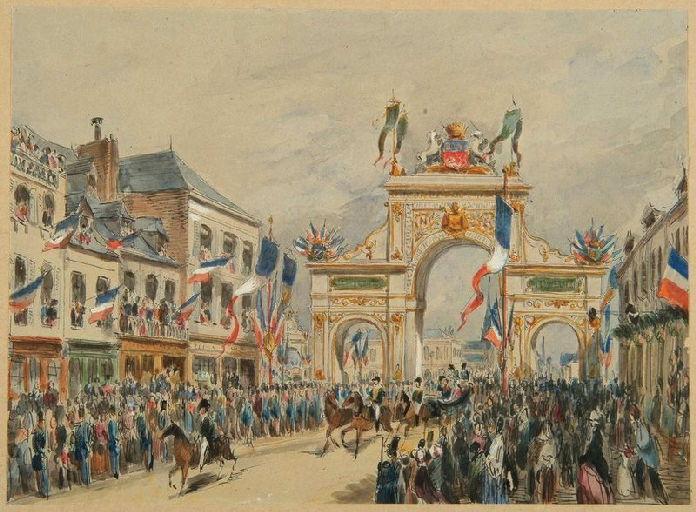 Amiens : arrivée de l'empereur Napoléon III et de l'impératrice, le 28 septembre 1853, (1853) ; Amiens : arrivée de l'Empereur Napoléon III et de l'Impératrice le 28 septembre 1853