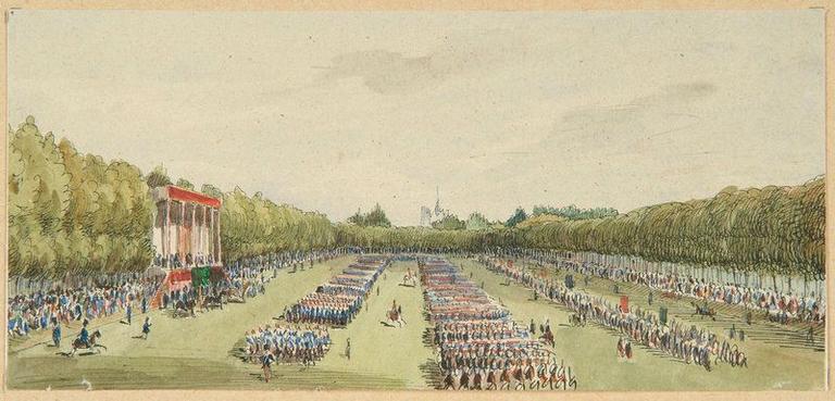 Amiens : revue militaire au parc de la Hotoie à l'occasion de la venue de l'empereur Napoléon III et de l'impératrice le 29 septembre 1853, (1853) ; Amiens : voyage de Napoléon III et de l'Impératrice, le 29 septembre 1853. Revue à la Hotoie_0