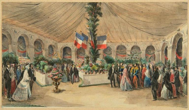 Amiens : visite de l'empereur Napoléon III et de l'impératrice à l'exposition d'horticulture dans la cour du lycée le 29 septembre 1853, (1853) ; Amiens : voyage de l'Empereur Napoléon III et de l'Impératrice, le 29 septembre 1853. Visite de leurs majestés à l'exposition d'horticulture dans la cour du lycée_0