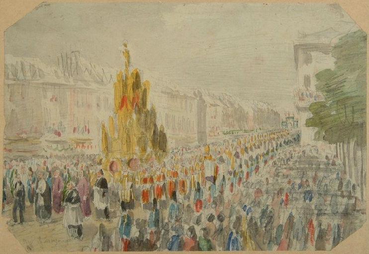 Amiens : la procession passant rue de Noyon à l'occasion de la translation des reliques de sainte Theudosie, le 12 octobre 1853, (1853) ; Amiens : le 12 octobre 1853. Char des Reliques de sainte Theudosie. Rue de Noyon_0
