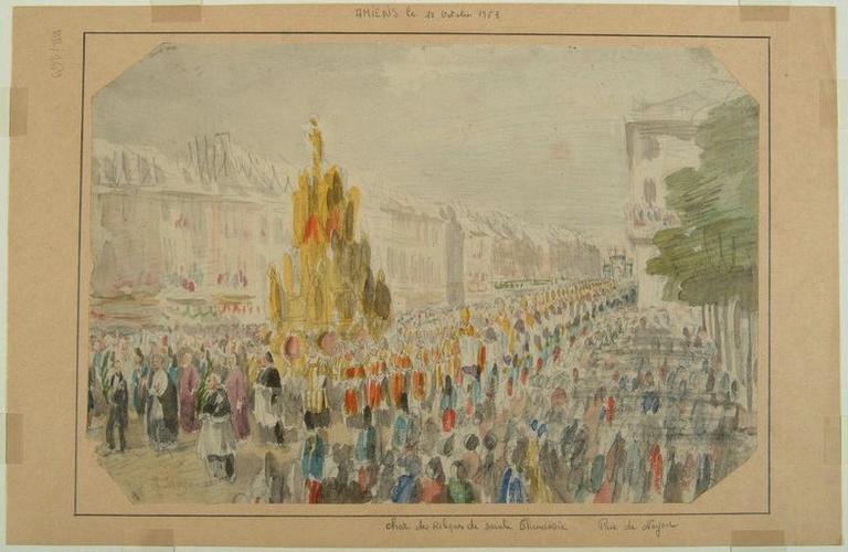 Amiens : la procession passant rue de Noyon à l'occasion de la translation des reliques de sainte Theudosie, le 12 octobre 1853, (1853) ; Amiens : le 12 octobre 1853. Char des Reliques de sainte Theudosie. Rue de Noyon