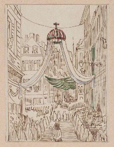 Amiens : cortège passant sous le dais suspendu rue des Chaudronniers et rue Saint-Martin à l'occasion de la translation des reliques de sainte Theudosie, le 12 octobre 1853, (1853) ; Amiens : translation des reliques de sainte Theudosie. Rue des Chaudronniers et Saint-Martin