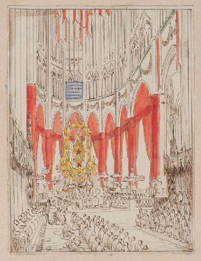 Amiens : le choeur de la cathédrale lors de la translation des reliques de sainte Theudosie le 12 octobre 1853, (1853) ; Amiens : intérieur de la Cathédrale, lors de la translation des reliques de sainte Theudosie en 1853. Le sanctuaire_0
