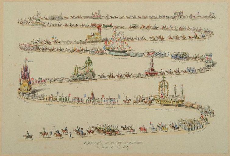 Amiens : vue développée de la cavalcade au profit des pauvres du 13 avril 1857, 1857 ; Amiens : cavalcade au profit des pauvres, le lundi 13 avril 1857_0