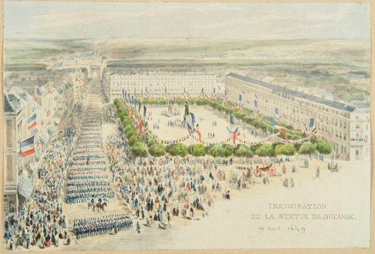 Amiens : inauguration de la statue de Ducange, place Saint-Denis, le 19 août 1849, 1849 ; Amiens : place Saint-Denis. 'Inauguration de la statue de Ducange. 19 août 1849'_0