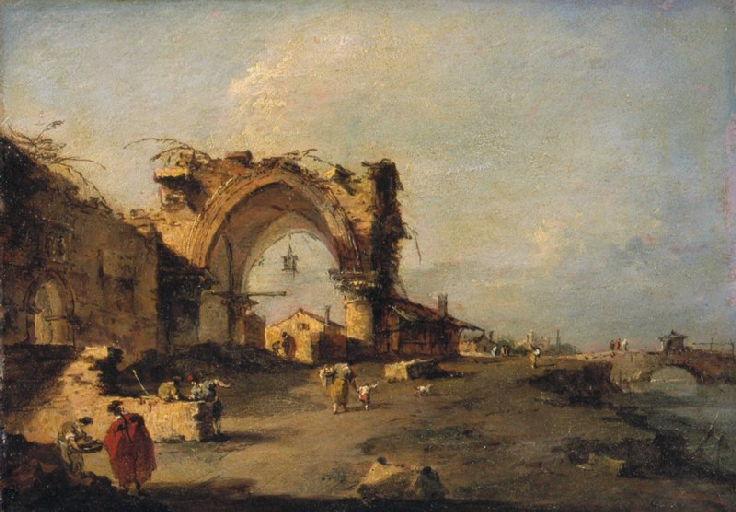 Vue d'une bourgade avec un pont et une porte gothique monumentale en ruine_0