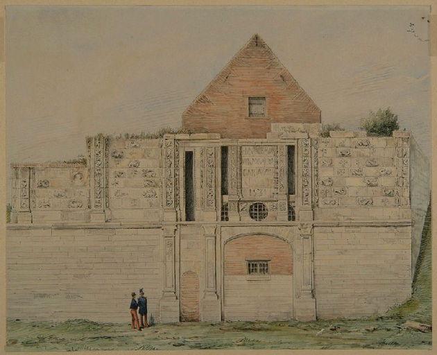 Amiens : la porte dite Montrescu à la citadelle, côté extérieur, (vers 1840-1850) ; Amiens : porte Montre-Ecu_0