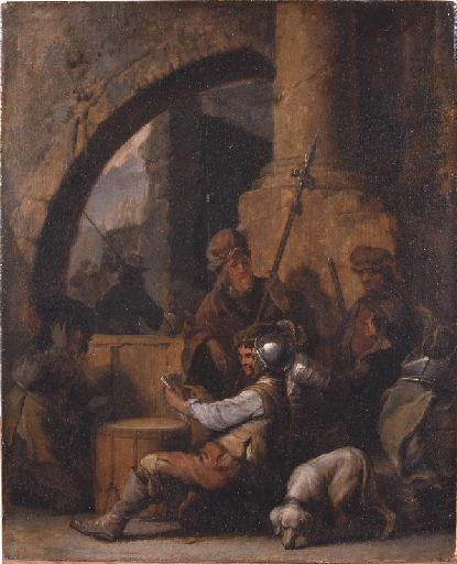 Soldats jouant aux cartes dans un corps de gardes
