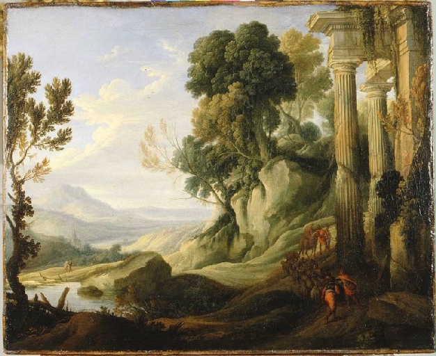 Paysage montagneux avec des ruines et des bergers montant un chemin avec leur troupeau_0