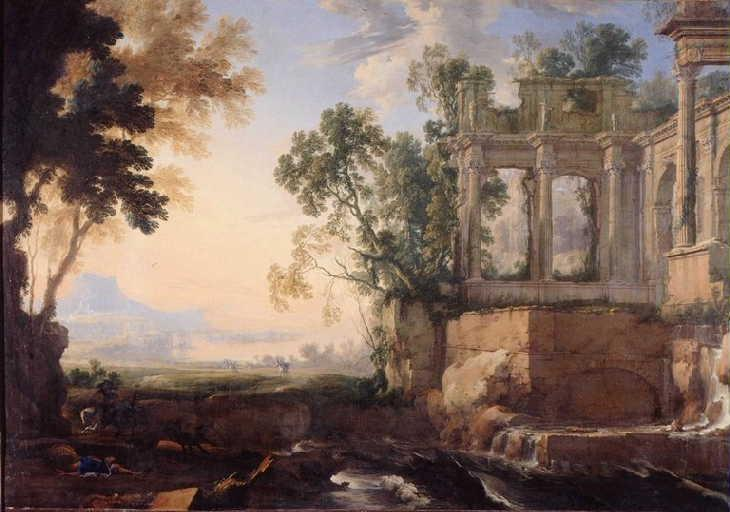 Paysage de ruines avec la chute d'Antiochus