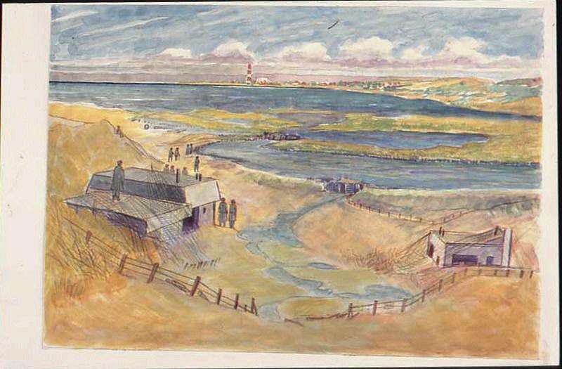 Paysage de bords de mer avec des prisonniers autour d'un blockhaus et une cheminée à l'horizon (titre factice)