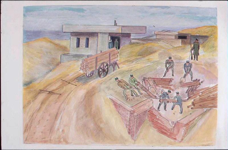 Six prisonniers travaillant à extraire des billots de bois dans des ruines ensablées (titre factice)_0