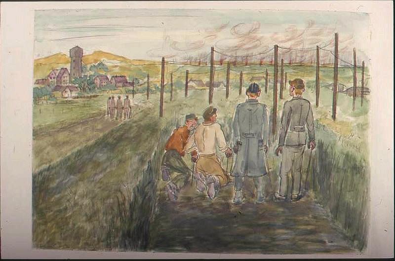 Paysage après la bataille, avec quatre personnages de dos au premier plan, tirant des mines, avec village et château d'eau à gauche (titre factice)_0