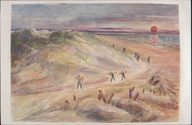 Personnes travaillant au soleil couchant dans les dunes après la bataille (titre factice)