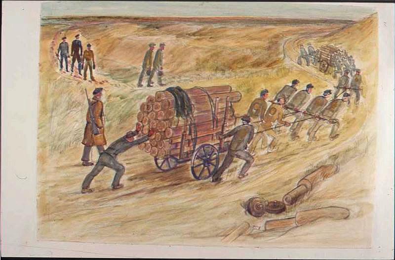 Chariot de bois tiré par des prisonniers dans les dunes (titre factice)_0