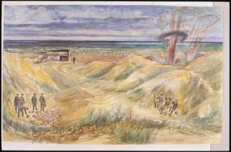 Après la bataille, prisonniers rassemblant des mines dans les dunes avec une explosion à droite (titre factice)