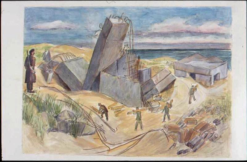 Après la bataille, un blockhaus effondré dans les dunes avec quatre prisonniers travaillant autour et surveillés par un militaire (titre factice)_0