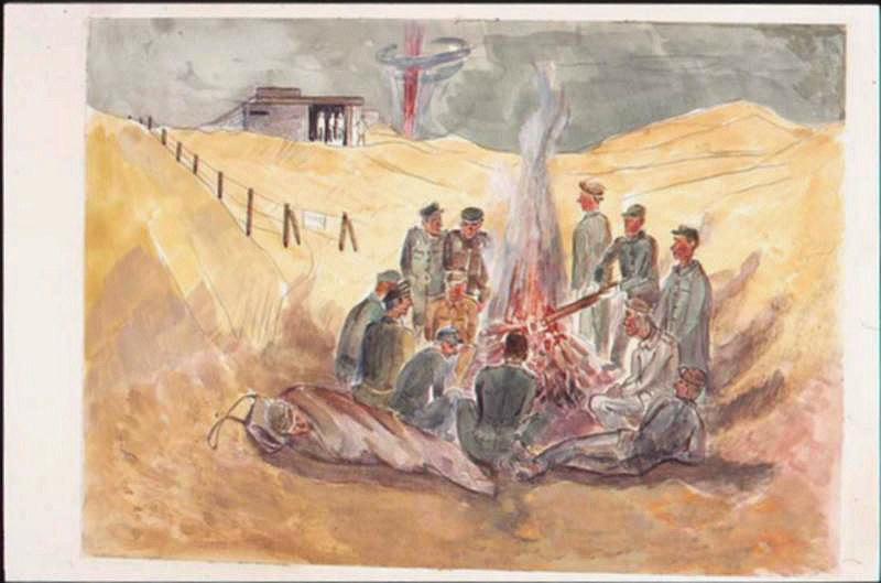 Après la bataille, prisonniers autour d'un feu dans les dunes, avec explosion à l'horizon (titre factice)_0