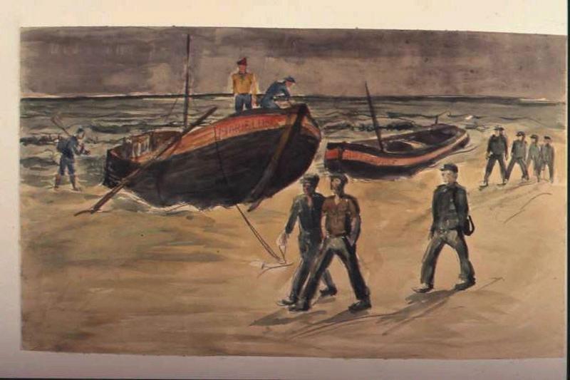 Plage par temps sombre avec deux barques 'Marie Louise' et 'Au revoir' avec trois prisonniers en premier plan (titre factice)
