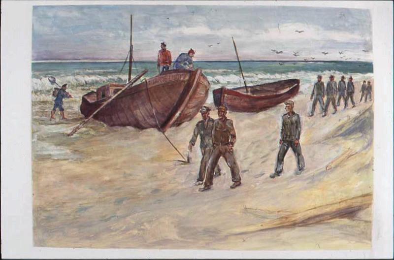 Plage avec deux barques, 'Marie Louise' et 'Au revoir' avec trois prisonniers en premier plan (titre factice)_0