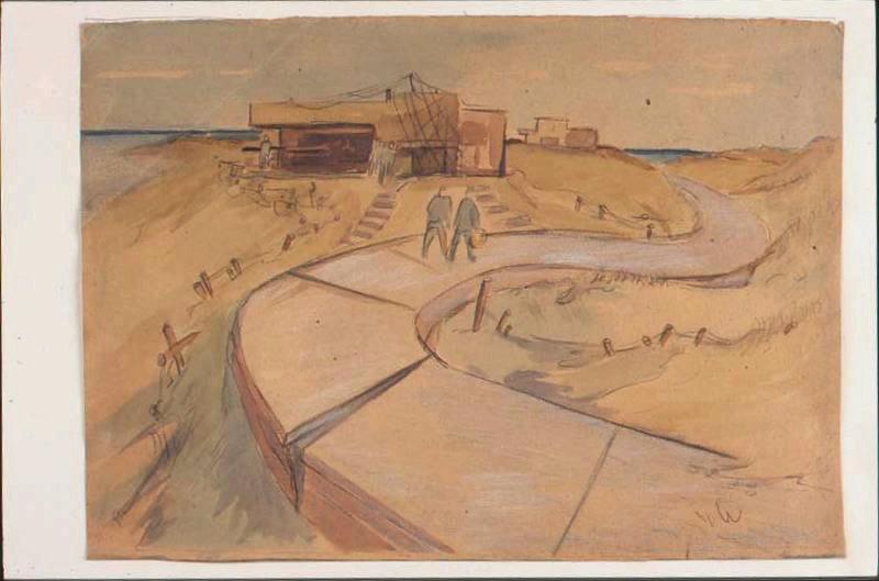 Deux prisonniers marchant sur une route dans les dunes, sur une voie devant un blockhaus (titre factice)_0