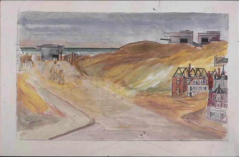 Paysage de bord de mer, avec blockhaus dans les dunes et rue d'un village (non achevé) (titre factice)_0