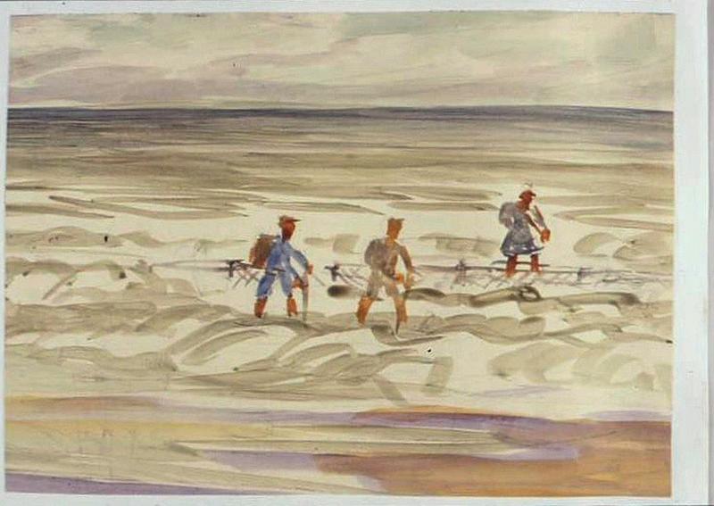 Trois personnages déminant une plage (titre factice)_0