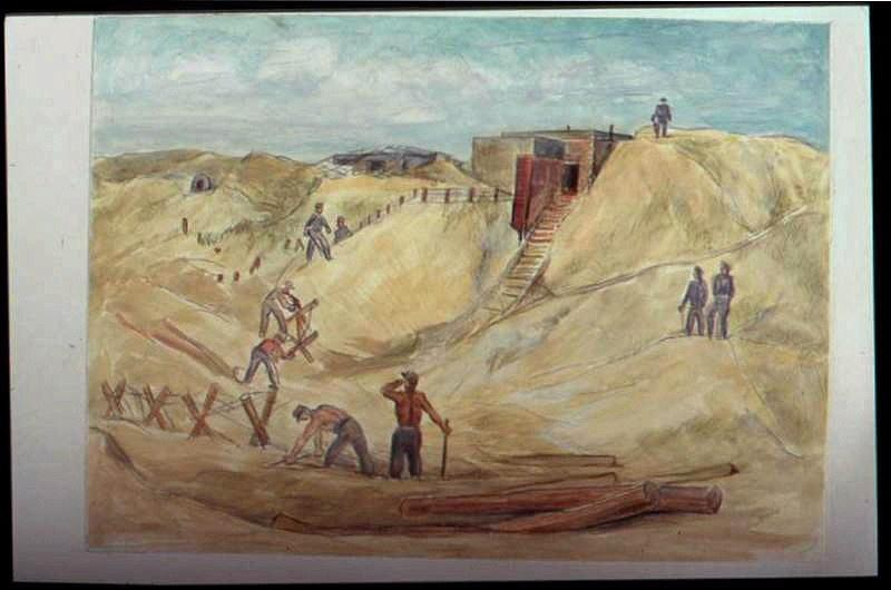 Prisonniers travaillant dans les dunes devant un blockhaus, avec deux billots de bois au premier plan (titre factice)_0